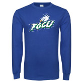 Royal Long Sleeve T Shirt-Primary Athletic Mark Distressed