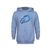 Youth Light Blue Fleece Hoodie-Eagle Head Foil