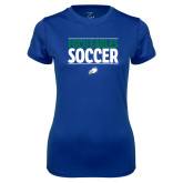 Ladies Syntrel Performance Royal Tee-Stacked Soccer