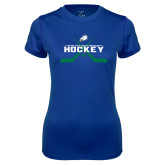 Ladies Syntrel Performance Royal Tee-Hockey Crossed Sticks w/ Puck