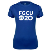 Ladies Syntrel Performance Royal Tee-FGCU at 20 Stacked