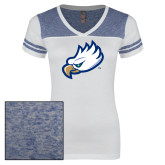 Ladies White/Heathered Deep Royal Juniors Varsity V Neck Tee-Eagle Head