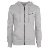 ENZA Ladies Grey Fleece Full Zip Hoodie-Primary Athletic Mark