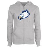 ENZA Ladies Grey Fleece Full Zip Hoodie-Eagle Head
