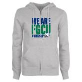 ENZA Ladies Grey Fleece Full Zip Hoodie-We Are FGCU