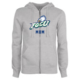 ENZA Ladies Grey Fleece Full Zip Hoodie-Beach Volleyball