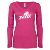 ENZA Ladies Hot Pink Long Sleeve V Neck Tee-Primary Athletic Mark