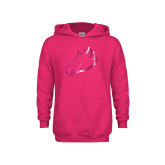 Youth Raspberry Fleece Hoodie-Eagle Head Foil