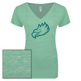 ENZA Ladies Seaglass Melange V Neck Tee-Eagle Head Glitter