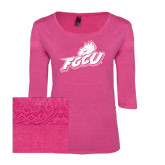 Ladies Dark Fuchsia Heather Tri Blend Lace 3/4 Sleeve Tee-Primary Athletic Mark