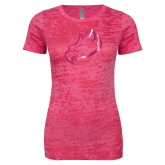 Next Level Ladies Junior Fit Fuchsia Burnout Tee-Eagle Head Foil