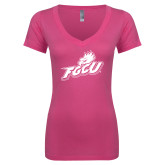 Next Level Ladies Junior Fit Deep V Pink Tee-Primary Athletic Mark