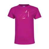 Youth Fuchsia T Shirt-Eagle Head Foil
