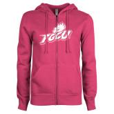 ENZA Ladies Fuchsia Fleece Full Zip Hoodie-Primary Athletic Mark