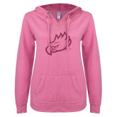 ENZA Ladies Hot Pink V Notch Raw Edge Fleece Hoodie-Eagle Head Glitter