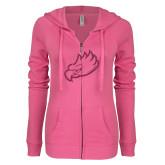 ENZA Ladies Hot Pink Light Weight Fleece Full Zip Hoodie-Eagle Head Glitter