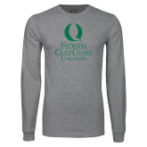 Grey Long Sleeve T Shirt-University Mark Stacked