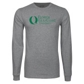 Grey Long Sleeve T Shirt-University Mark Flat