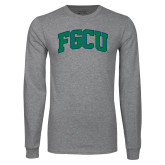 Grey Long Sleeve T Shirt-Arched FGCU