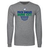 Grey Long Sleeve T Shirt-Dunk City Stacked w/ Net