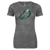 Next Level Ladies Junior Fit Dark Grey Burnout Tee-Eagle Head Foil