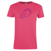 Ladies Fuchsia T Shirt-Eagle Head Rhinestones