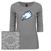 Ladies Grey Heather Tri Blend Lace 3/4 Sleeve Tee-Eagle Head