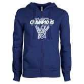 ENZA Ladies Royal Fleece Full Zip Hoodie-Regular Season Champions 2017 Mens Basketball Net Design