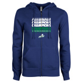 ENZA Ladies Royal Fleece Full Zip Hoodie-Regular Season Champions 2017 Mens Basketball Champions Repeating