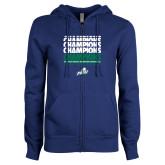 ENZA Ladies Royal Fleece Full Zip Hoodie-Regular Season Champions 2017 Mens Basketball Champions Repeating