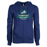 ENZA Ladies Royal Fleece Full Zip Hoodie-Asun Conference 2017 Womens Basketball Champions
