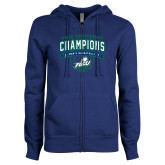ENZA Ladies Royal Fleece Full Zip Hoodie-ASUN Champions 2017 Mens Basketball
