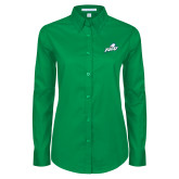 Ladies Kelly Green Twill Button Down Long Sleeve-Primary Athletic Mark