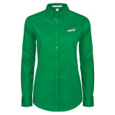 Ladies Kelly Green Twill Button Down Long Sleeve-FGCU