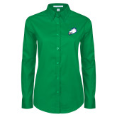 Ladies Kelly Green Twill Button Down Long Sleeve-Eagle Head