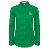 Ladies Kelly Green Twill Button Down Long Sleeve-University Mark Stacked