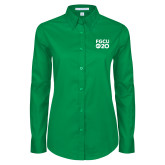 Ladies Kelly Green Twill Button Down Long Sleeve-FGCU at 20 Stacked