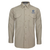 Khaki Long Sleeve Performance Fishing Shirt-University Mark Stacked
