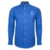 Mens Royal Oxford Long Sleeve Shirt-University Mark Stacked