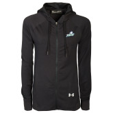 Ladies Under Armour Black Varsity Full Zip Hoodie-Primary Athletic Mark