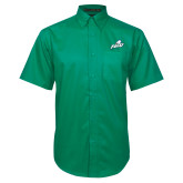 Kelly Green Twill Button Down Short Sleeve-Primary Athletic Mark