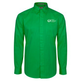 Kelly Green Twill Button Down Long Sleeve-University Mark Flat