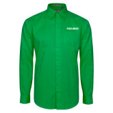 Kelly Green Twill Button Down Long Sleeve-FGCU at 20 Flat