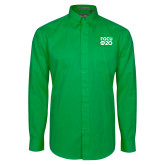 Kelly Green Twill Button Down Long Sleeve-FGCU at 20 Stacked