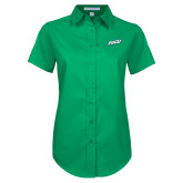 Ladies Kelly Green Twill Button Up Short Sleeve-FGCU
