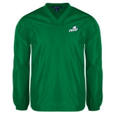 V Neck Kelly Green Raglan Windshirt-Primary Athletic Mark