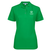 Ladies Easycare Kelly Green Pique Polo-University Mark Stacked