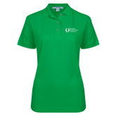 Ladies Easycare Kelly Green Pique Polo-University Mark Flat