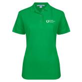Ladies Easycare Kelly Green Pique Polo-University Mark Flat
