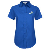 Ladies Royal Twill Button Up Short Sleeve-Primary Athletic Mark